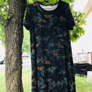 Black Aztec M Lularoe Carly dress
